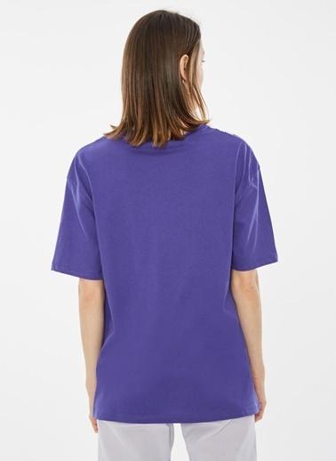 Loves You Dantel Baskılı Loose Fit T-Shirt Mor